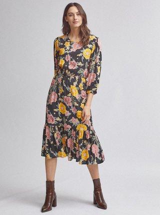 Čierne kvetované midi šaty Dorothy Perkins