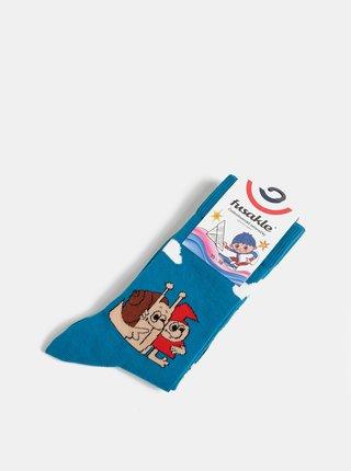 Tyrkysové vzorované ponožky Fusakle Mato a Klincek