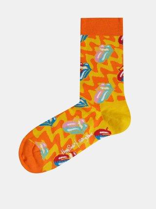 Oranžovo-žlté vzorované ponožky Happy Socks Rolling Stones