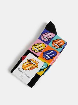 Oranžovo-černé vzorované ponožky Happy Socks Rolling Stones