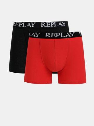 Sada dvou boxerek v černé a červené barvě Replay