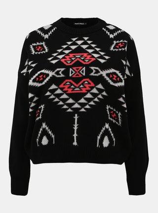 Černý vzorovaný svetr TALLY WEiJL Aztec