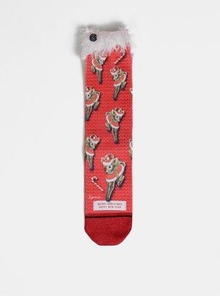 Červené dámske ponožky s vianočným motívom XPOOOS