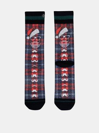 Modro-červené pánske ponožky s vianočným motívom XPOOOS
