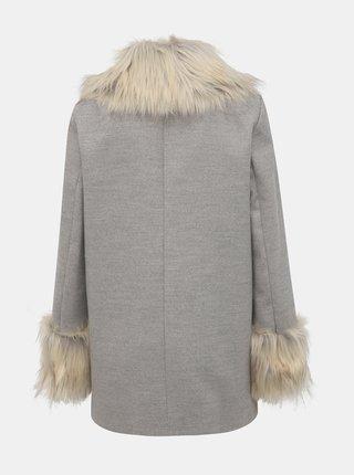 Šedý kabát s detaily z umělé kožešiny Miss Selfridge