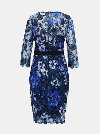 Modré krajkové pouzdrové šaty Paper Dolls