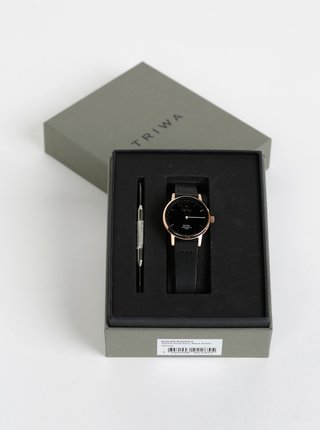 Dámsk hodinky s čiernym koženým opaskom TRIWA Elva