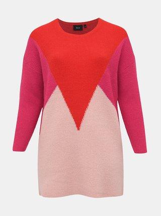 Červeno-ružový sveter s prímesou vlny Zizzi Alice