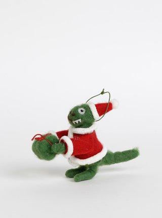 Zelená vianočná dekorácia v tvare dinosaura Sass & Belle Santasaurus