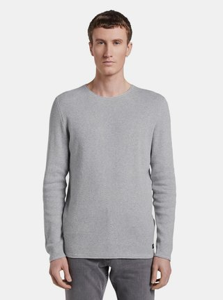 Svetlošedý pánsky basic sveter Tom Tailor Denim