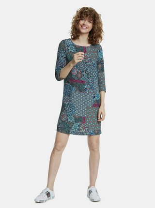 Modré vzorované šaty Desigual