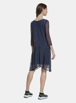 Tmavě modré vzorované šaty Desigual