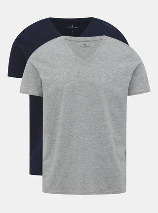 Sada dvou pánských triček v šedé a tmavě modré barvě Tom Tailor
