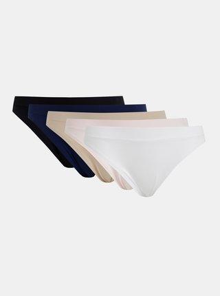 Sada piatich nohavičiek v bielej, čiernej, telovej, rúžovej a modrej farbe Dorina Rosanne