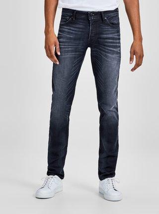 Tmavě modré slim fit džíny s vyšisovaným efektem Jack & Jones Glenn