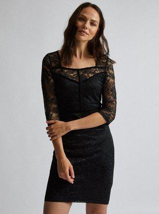 Čierne krajkové púzdrové šaty Dorothy Perkins