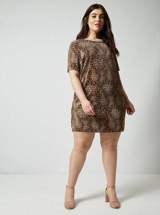 Hnědé plisované šaty s leopardím vzorem Dorothy Perkins Curve