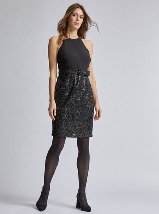 Čierne púzdrové šaty s flitrami Dorothy Perkins