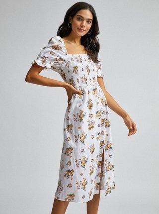 Bílé květované šaty s příměsí lnu Dorothy Perkins