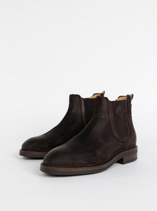 Tmavohnedé pánske kožené chelsea topánky s vlnenou podšívkou GANT Martin