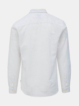Biela slim fit košeľa s prímesou ľanu ONLY & SONS Caiden