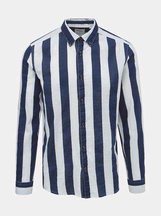 Bielo-modrá pruhovaná slim fit košeľa ONLY & SONS Sarif