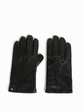 Černé pánské kožené rukavice s vlněnou podšívkou Tommy Hilfiger Flag