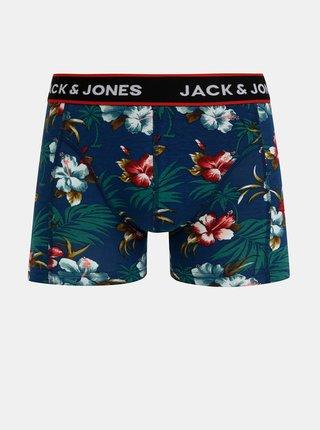 Sada troch boxeriek v modrej a čiernej farbe Jack & Jones Flower
