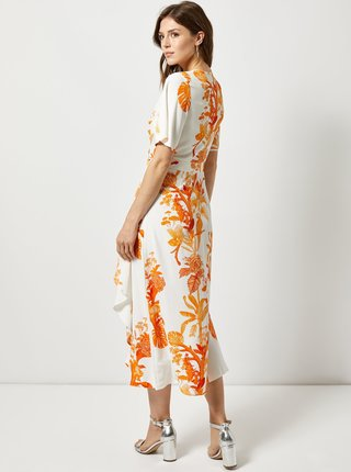 Oranžovo–biele vzorované maxišaty s volánom Dorothy Perkins