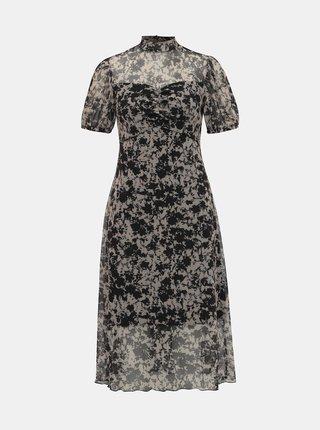 Černo-béžové vzorované midišaty Miss Selfridge