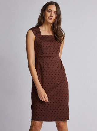 Tmavohnedé bodkované šaty Dorothy Perkins