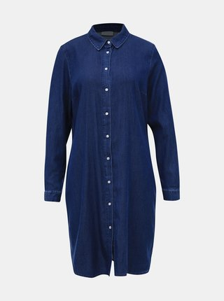 Tmavomodré košeľové šaty VILA Bista