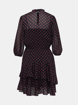 Ružovo-čierne bodkované šaty Dorothy Perkins