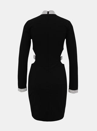 Čierne púzdrové šaty s priestrihmi TALLY WEiJL Martha