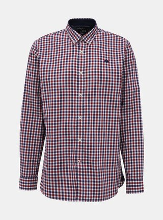 Vínová kostkovaná košile Raging Bull