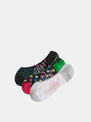 Sada troch párov dámskych nízkych vzorovaných ponožiek v bielej a šedej farbe Meatfly