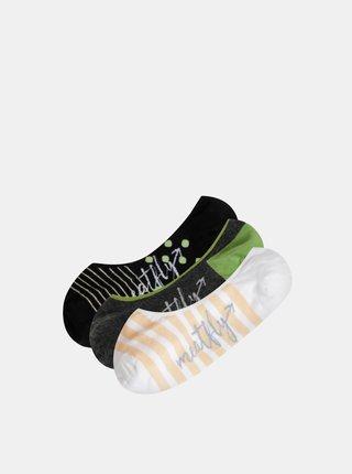 Sada troch párov dámskych nízkych pruhovaných ponožiek v bielej, šedej a čiernej farbe Meatfly