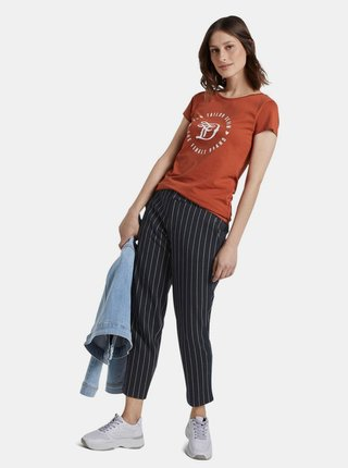 Tehlové dámske tričko s potlačou Tom Tailor Denim