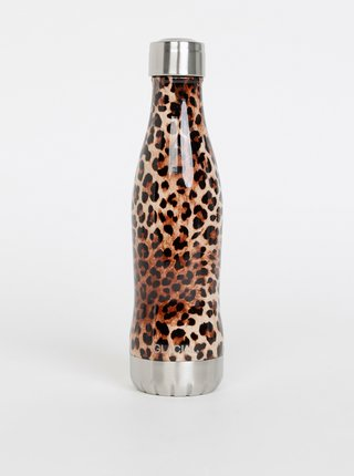 Hnědá termolahev s leopardím vzorem GLACIAL Leopard 400 ml