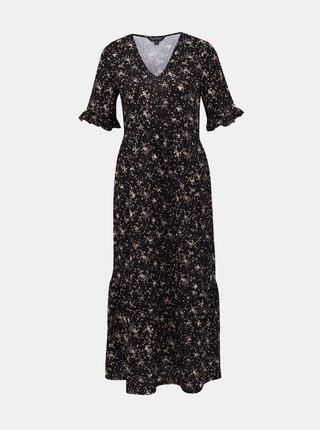 Čierne vzorované maxi šaty Miss Selfridge