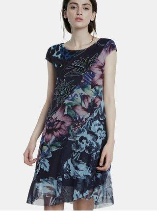 Tmavě modré vzorované šaty Desigual Cleveland