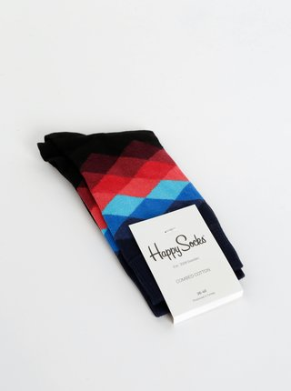 Černé vzorované ponožky Happy Socks Faded Diamond