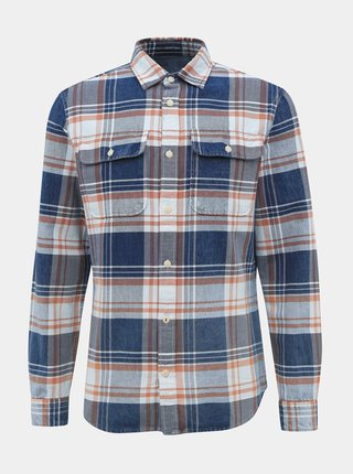 Modrá kockovaná slim fit košeľa Jack & Jones Lufade