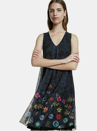 Černé květované tylové šaty Desigual Carnagy
