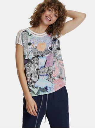 Bílo-modré vzorované tričko Desigual Viena