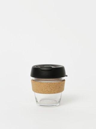 Čierny sklenený cestovný hrnček KeepCup Brew Cork small 177 ml