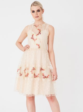 Béžové šaty s výšivkou Little Mistress