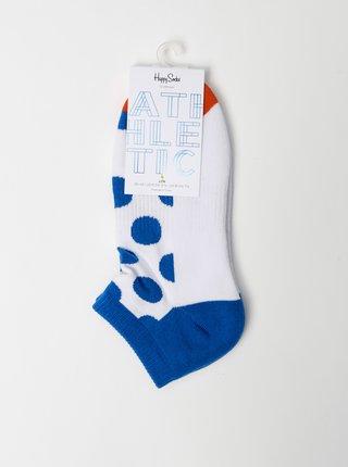 Modro-bílé dámské kotníkové puntíkované ponožky Happy Socks Athletic