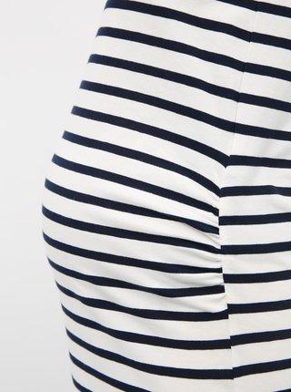 Biele tehotenské pruhované basic maxišaty Mama.licious Lea