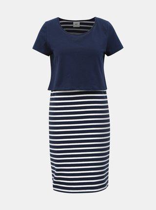 Tmavě modré pruhované těhotenské/kojicí šaty Mama.licious Lea